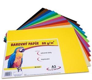 Barevné papíry A3  60listů  12barev