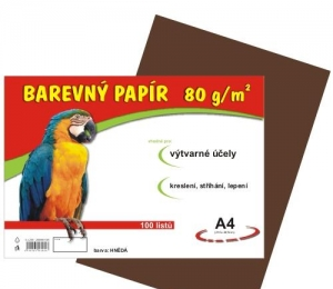 Barevný papír A4 100ls 80g HNĚDÝ