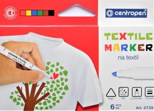 Popisovač CENTROPEN na textil 2739 sada 6 barev
