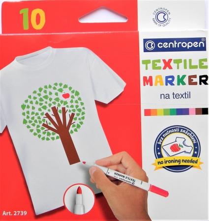 Popisovač CENTROPEN na textil 2739 sada 10 barev