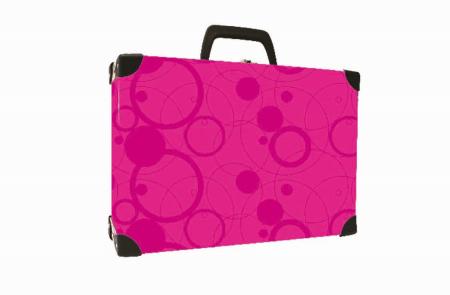 Kufřík lamino hranatý okovaný NEO COLORI růžová