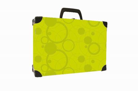 Kufřík lamino hranatý okovaný NEO COLORI zelená