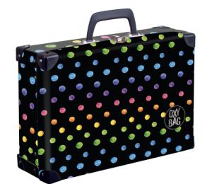 Kufřík lamino hranatý okovaný Dots colors