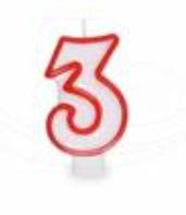 """Svíčka číslová 75mm """"3"""""""