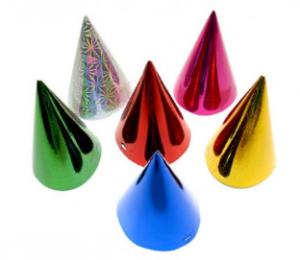 Papírové kloboučky 6ks hologramový mix