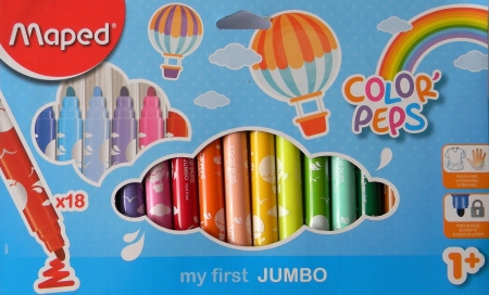Popisovače MAPED COLORpeps JUMBO 18 barev