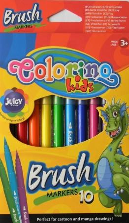 Popisovače COLORINO Kids brush 10 barev